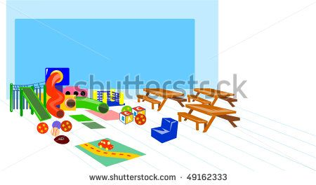 vector illustration of a play ground with slides and benches #playground #retro #illustration