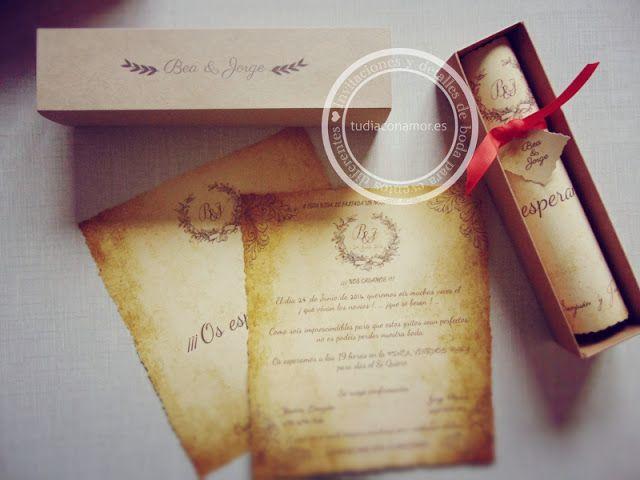 Invitaciones de boda estilo pergamino en caja kraft decoradas de estilo vintage. Un diseño a medida de Tu día Con Amor
