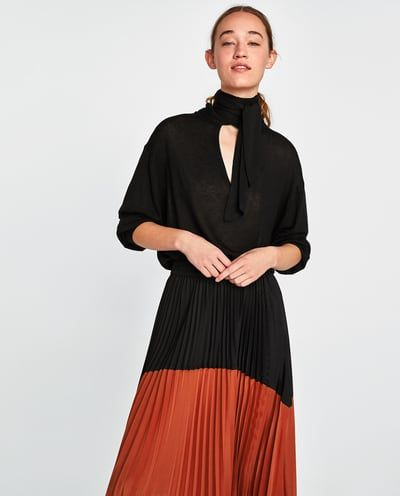 Image 2 of TWO-TONE PLEATED SKIRT from Zara