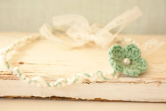 Unique Headband Tie Back Mint Crochet Flower by BeautyfromashesUSA