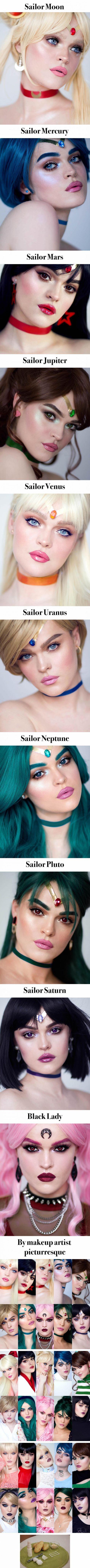 Makeup artist does up every single Sailor Senshi from Sailor Moon. Sailor Saturn is my fav - 9GAG