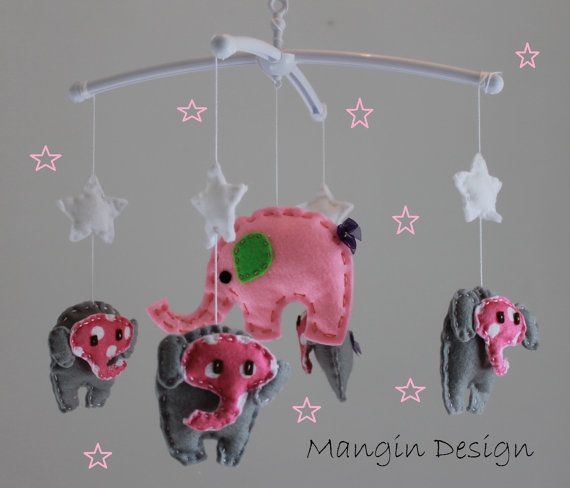 SALE pink grey elephant mobile baby musical cot by ManginDesign