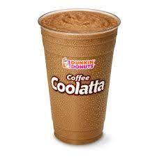 DD's Coffee Coolatta - 1 1/4 cups coffee made strong, 1cup milk, 5 tbsp. granulated sugar, 2 tbsp. of Hershey chocolate syrup, 1 tbsp. Torani hazelnut syrup, 1 teaspoon vanilla extract, 1/4 teaspoon almond extract, & 2 1/2 cups ice.