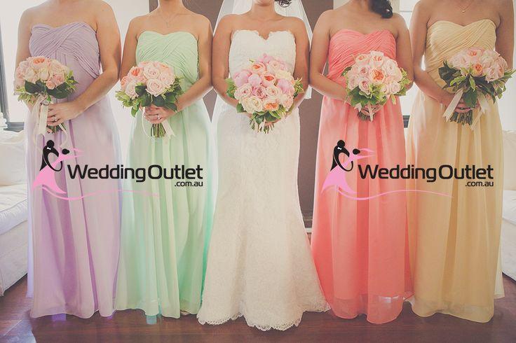 rainbow wedding, rainbow bridesmaid dresses, multi colour wedding