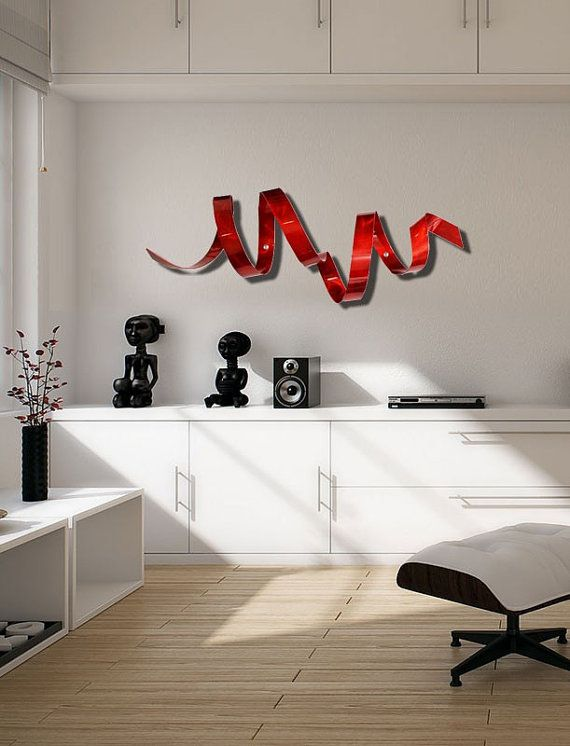 Red Metal Wall Art red twist wall sculpture, indoor outdoor metal wall art, red
