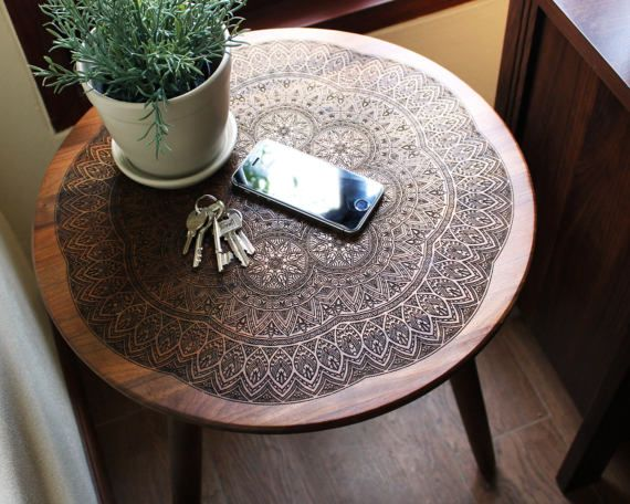 Engraved Hardwood End / Side Table or Night Stand Geometric