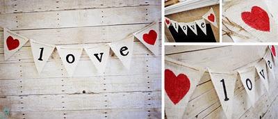 LOVE Burlap Valentine's Banner