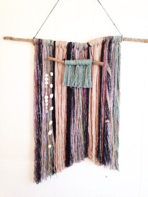 Yarn Wall Hanging with Wool Silk Silk Cocoons by WoodFiberSpirit