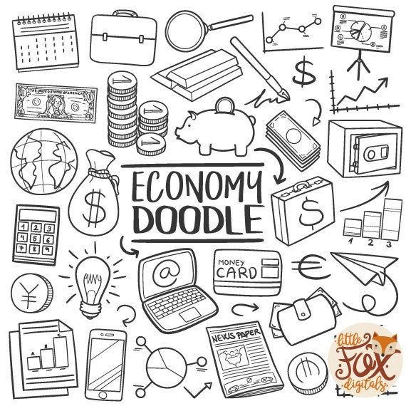 Economy Doodle Vector Icons Finances Money Traditional Etsy Line Art Design Doodle Icon How To Draw Hands