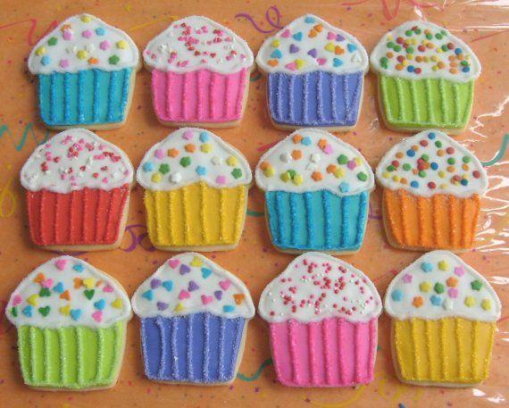 Rainbow Sparkle Cupcakes - Cupcake Decorated Cookies