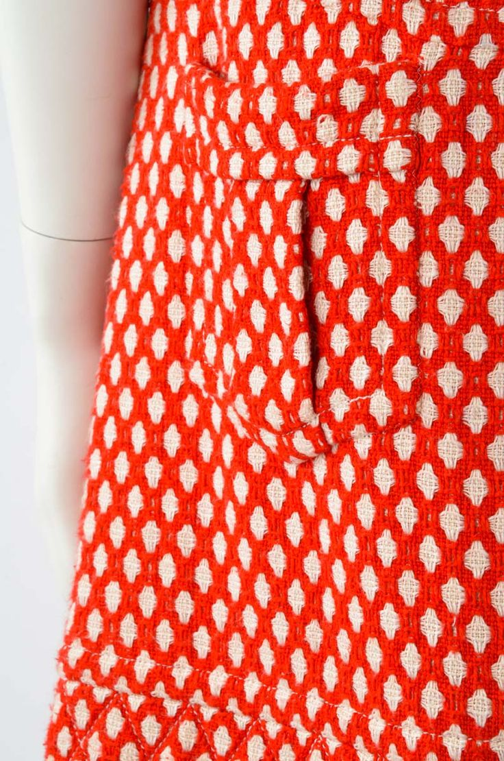 Chanel Red and White Boucle Shift Dress