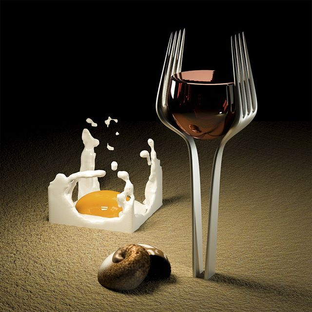 Forkful of red, Eggplosives and empty shells, anyone? #surreal #Jason65kuutio #Art #nobrain #eiaivoja #Fork #Egg #Shell #Wine #haarukka #viini #kananmuna #simpukka #surrealistinen #taide