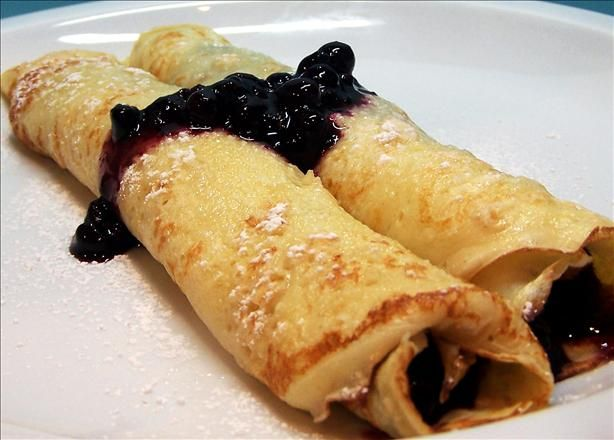 Bavarian Pancakes from Food.com:    These come out plate size and thin.  You put any choice of toppings on and roll up and eat.  This is a German heritage recipe.