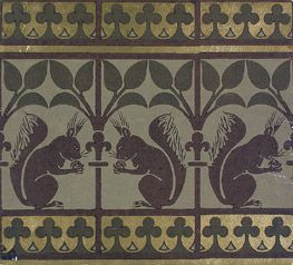 Squirrel and Leaves wallpaper frieze, William Burges - Victoria and Albert Museum