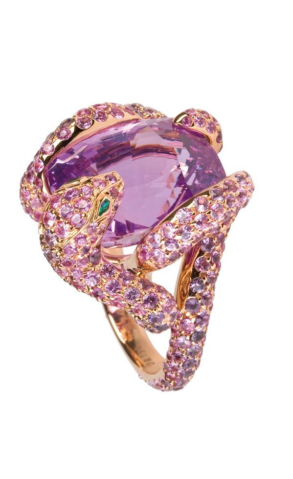 I have a sterling silver ring in same design without extra jeweles on snake with a approximately 30 carat pink kunzite.