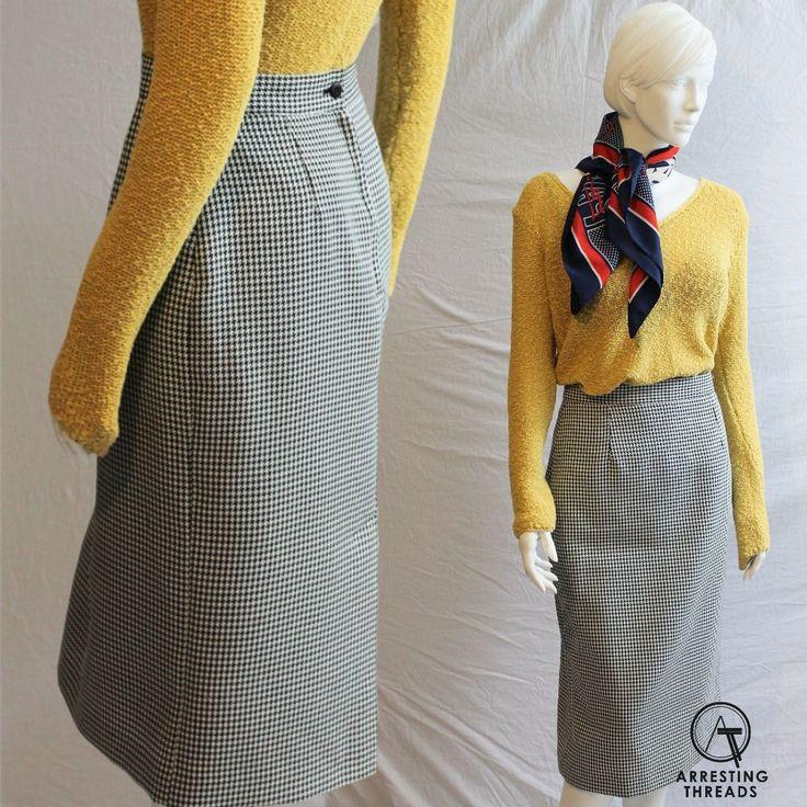 Houndstooth Skirt, 80s Skirt, Pencil Skirt, Black White Skirt, Midi Skirt, Checked Skirt, Mid Length Skirt, Parisian, Size S, UK 10, by ArrestingThreads on Etsy https://www.etsy.com/uk/listing/482327244/houndstooth-skirt-80s-skirt-pencil-skirt