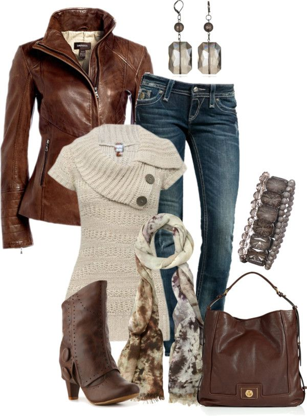 Love the brown leather jacket, handbag, and boots. Would like the sweater if it had long sleeves.