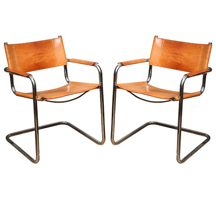Pair of Tan Leather Marcel Breuer Chairs