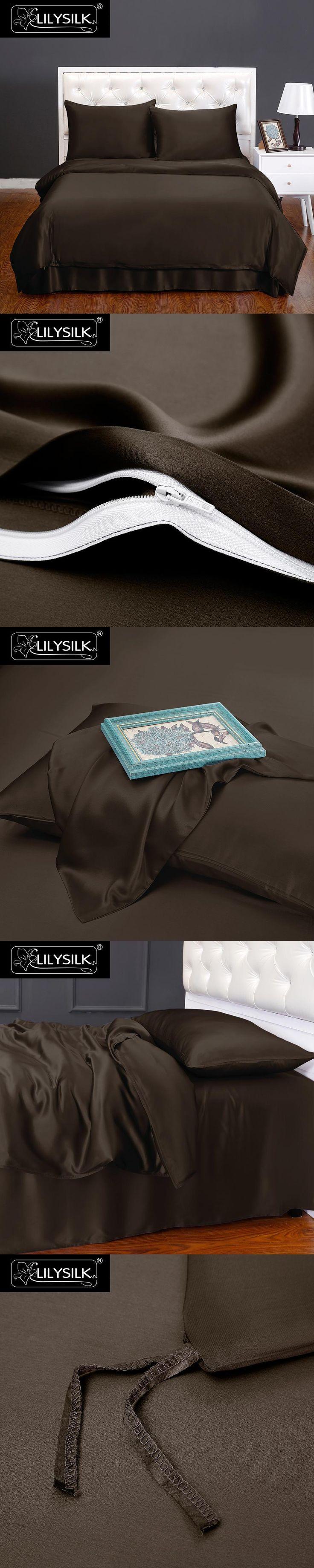 LILYSILK 4pcs Silk Bedding Set 100% Mulberry Seamless Silk Duvet Cover Silk Flat Sheet Silk Terse Pillowcases 19 Momme