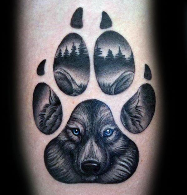 Blue Eyed Wolf Paw Mens Arm Tattoo Designs