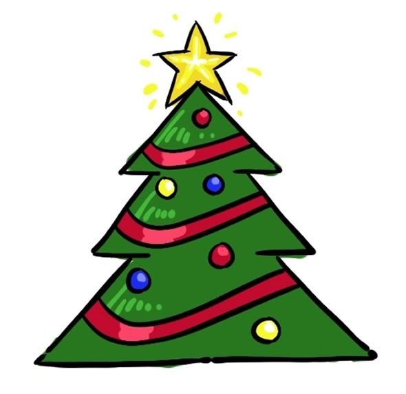 Desenho de Árvore de Natal colorida