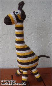 Hæklet giraf, dansk opskrift.