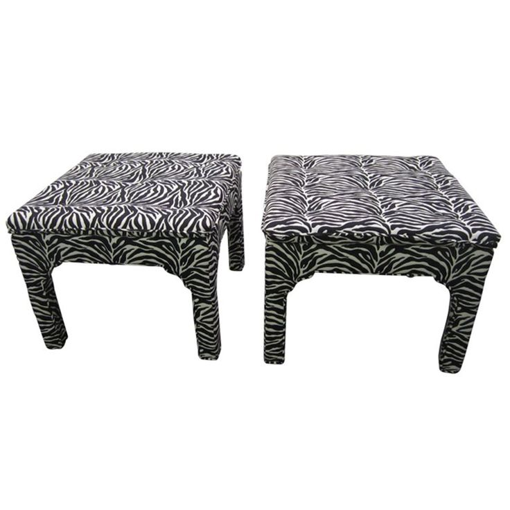 Pair Milo Baughman Style Square Upholstered Bench Stools