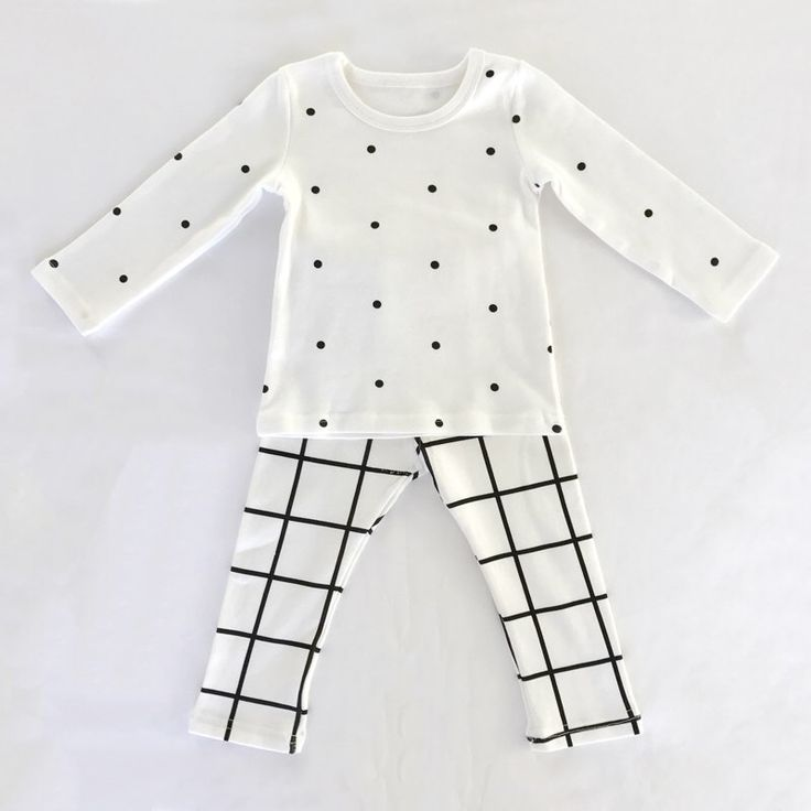Toddler Pajama Set: Small Poka Dots and Grid Cotton Pajamas for Boy or Girl by PikkaBaby on Etsy https://www.etsy.com/listing/497688283/toddler-pajama-set-small-poka-dots-and