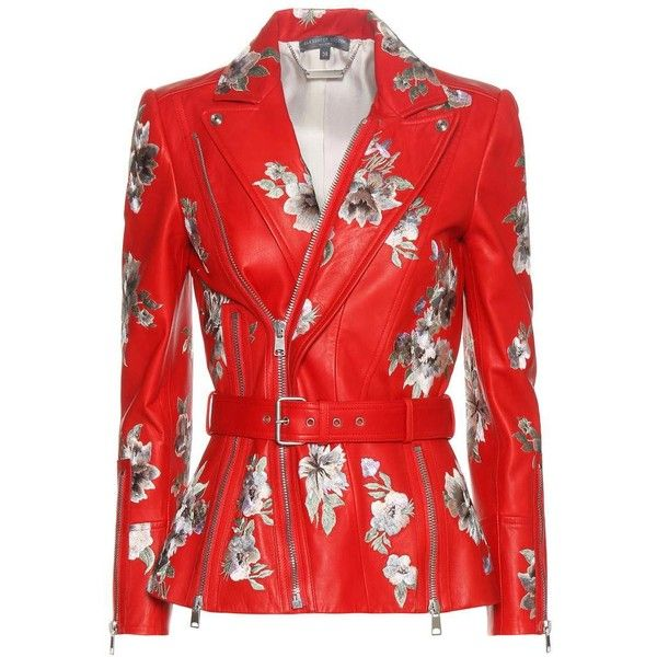 Alexander McQueen Embroidered Leather Jacket ($6,060) ❤ liked on Polyvore featuring outerwear, jackets, red, embroidered jacket, alexander mcqueen, genuine leather jackets, 100 leather jacket and embroidery jackets