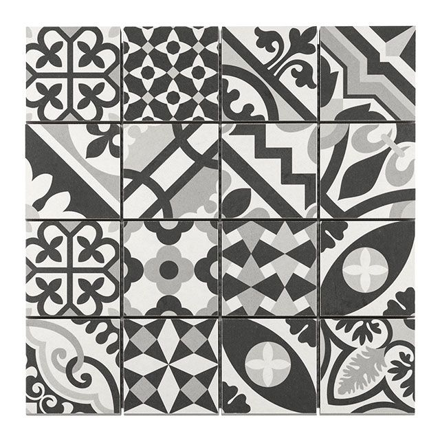 Mosa que carreaux de ciment blanc noir 7 x 7 cm for Plinthe carrelage blanc
