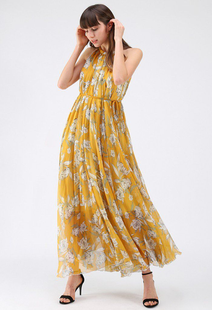 412c7c72de45a4 Flower Season Chiffon Maxi Slip Dress in Yellow - DRESS - Retro, Indie and  Unique Fashion