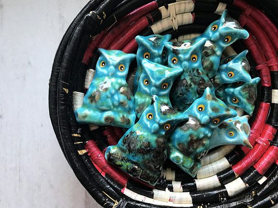 Turquoise ceramic owl magnets