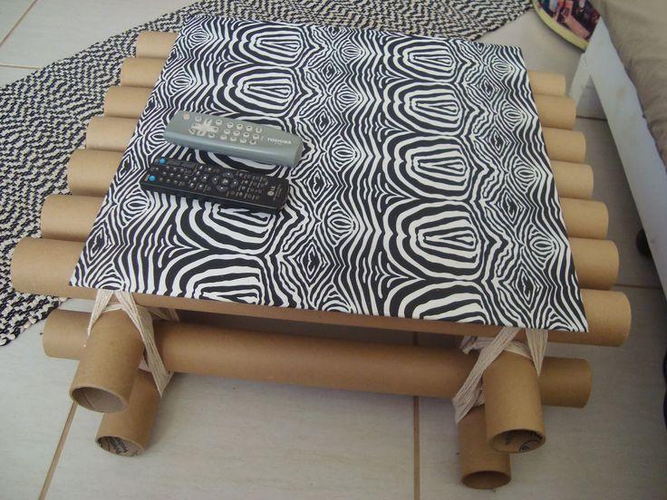 Rosa Luiza Artesanatos: Mesa com tubos de papelão e  vidro de fogão!