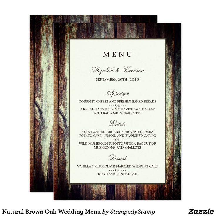 bridal shower invitations vector free%0A Natural Brown Oak Wedding Menu Card