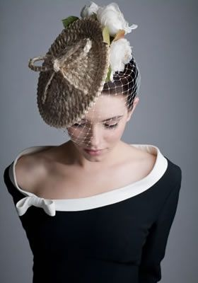 Rachel Trevor-Morgan Millinery - Swiss braid disc with organdie roses and face veil. #passion4hats
