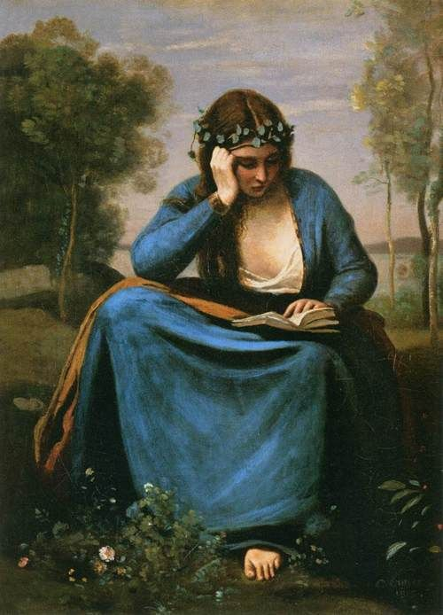 The Reader Wreathed with Flowers ( Virgil's Muse) 1845 by Jean-Baptiste-Camille Corot (1796-1875).  Web Gallery of Art:  Wikimedia.