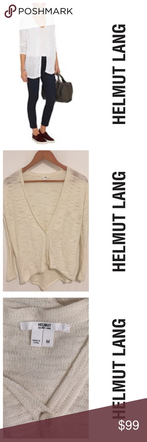 Helmut Lang white lightweight cardigan sweater M Size medium. Worn a few times but still in very good condition. See my closet for more great deals on designer items. 15% off a bundle of three or more items. Helmut Lang Sweaters Cardigans