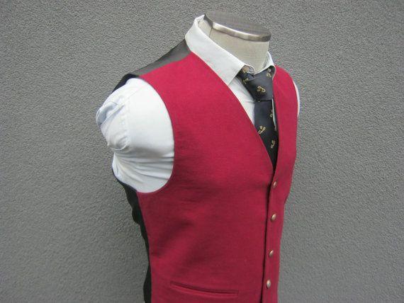 Vintage BURTON Red Velvet Vest / Waistcoat / Size by BudeVintage