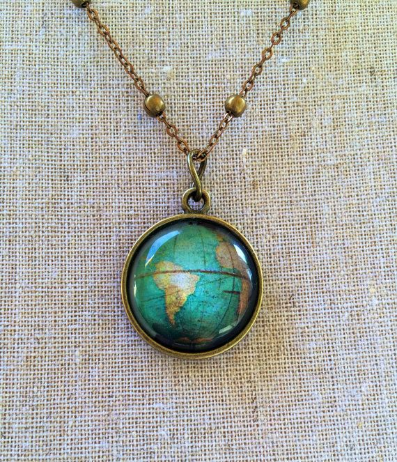Globe Pendant Necklace - One of a Kind - Unique Gift - Industrial Whimsy - Unique Bridesmaids Gift on Etsy, $25.00