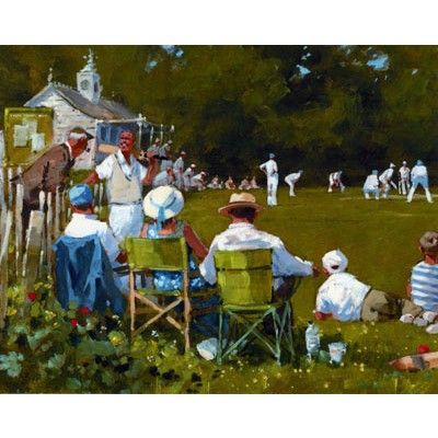 Generously sized birthday card illustrated with spectators watching a cricket match by John Haskins - £2.40