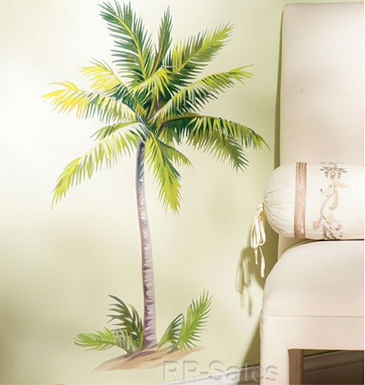 Large Tropical Palm Tree Peel Stick Vinyl Wall Art