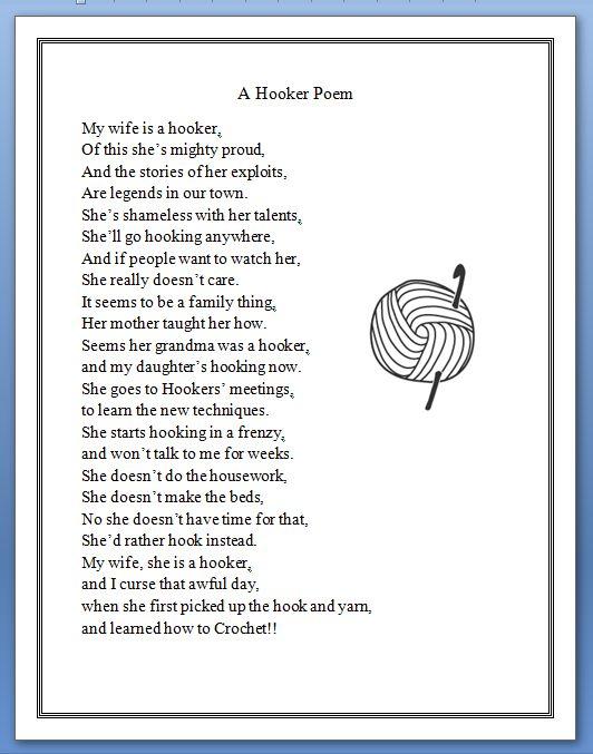 A Hooker Poem