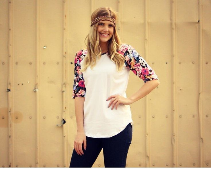 Women's Floral Sleeve Raglan, short sleeve. Fall summer women's styles, outfit ideas, handmade #giarosedesigns women's fashion