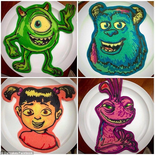 Scary stuff: Pancake artist Daniel Drake uses his creativity to turn people's favorite Pixar characters into delicious dishes. This batch is from Monsters Inc