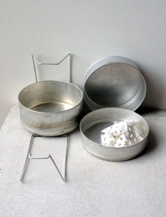Vintage Cake Tins  office caddy cooking pans by raemj on Etsy