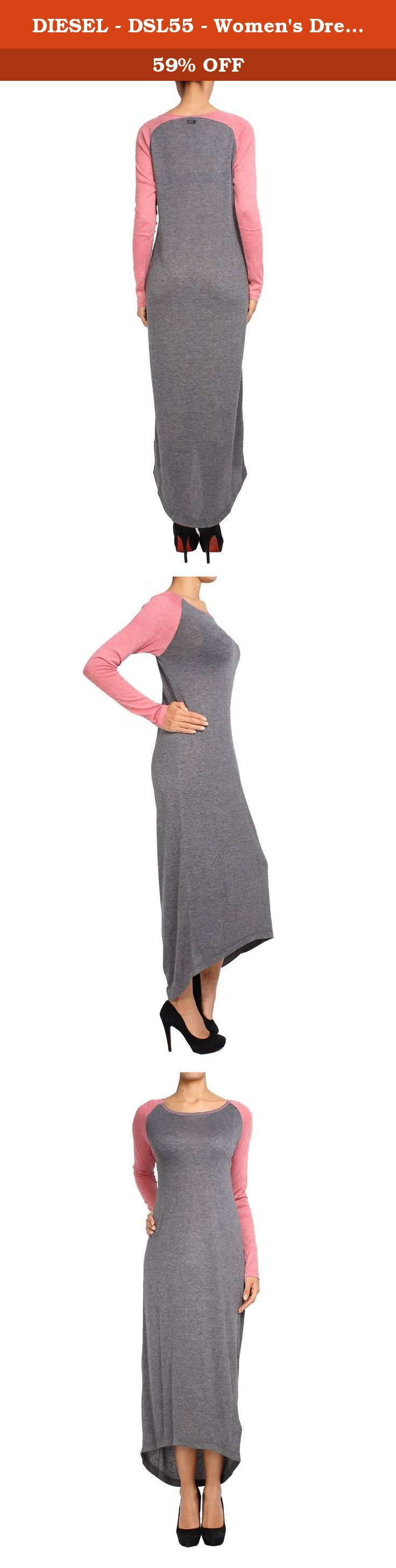 DIESEL - DSL55 - Women's Dress DELEON - gray, M. Style Name: column. Length: maxi. Collar Type: Boat Neck. Sleeve type: Long Sleeve. Composition: 65% Polyester 18% Viscose 17% Cotton.
