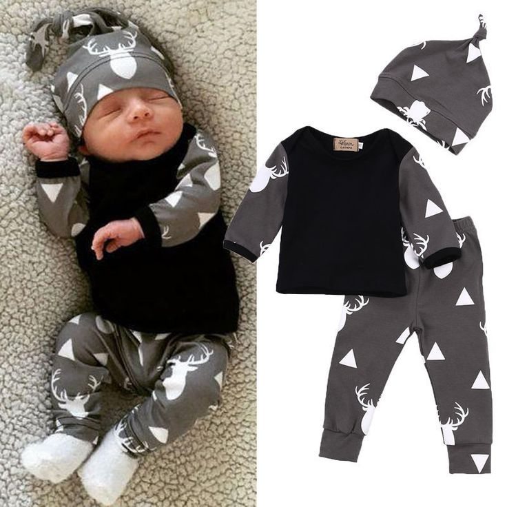 Cute Newborn Baby Girl Boy Clothes Deer Tops T-shirt Long Sleeve + Pants 3pcs Outfits Set