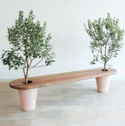 perfect for citrus, fig trees or blueberry shrubs, kept pruned (but i'd create 2 slots so seat can be removed when the trees need repotting)