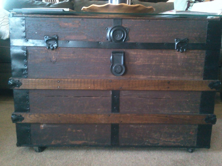 Antique trunk made into a coffee table antique trunks pinterest trunks coffee and antiques Old trunks as coffee tables