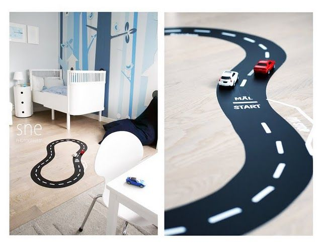 Racing track for the boys room